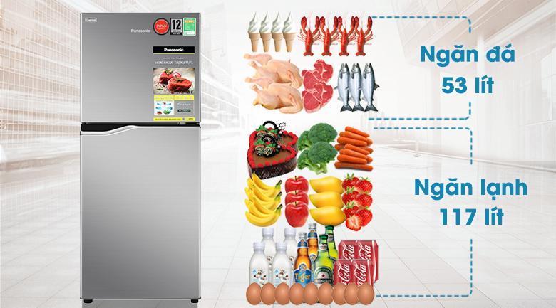 Tủ lạnh Panasonic Inverter 170 lít NR-BA190PPVN - Dung tích