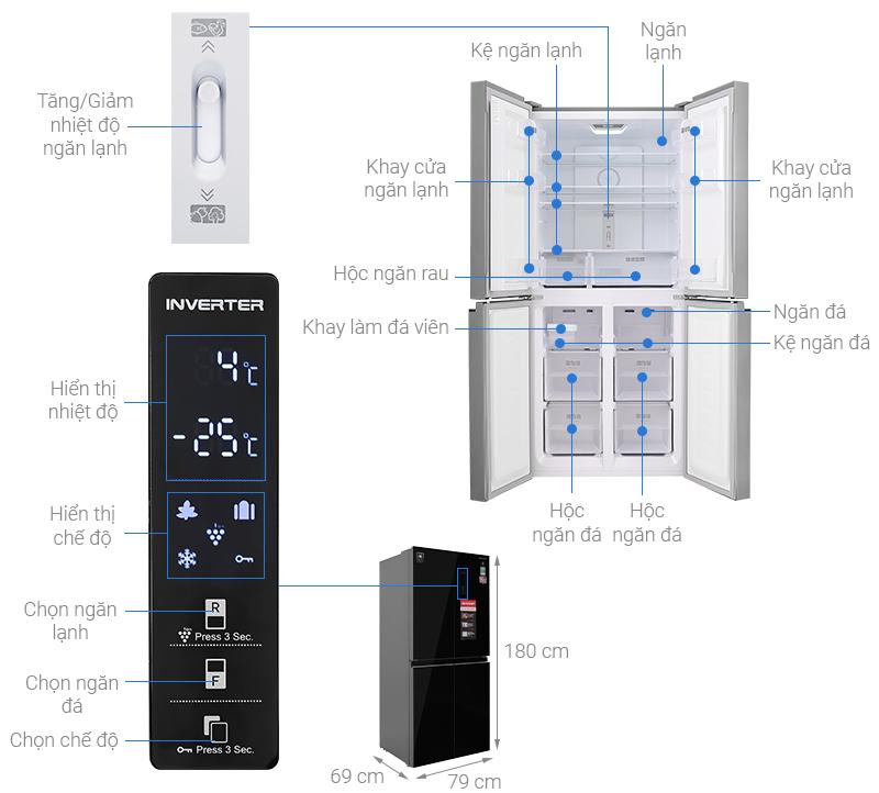 Thông số kỹ thuật Tủ lạnh Sharp Inverter 401 lít SJ-FXP480VG-BK