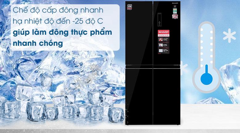 Tủ lạnh Sharp Inverter 401 lít SJ-FXP480VG-BK - Cấp Đông Nhanh