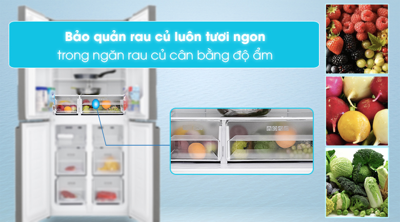 Tủ lạnh Sharp Inverter 401 lít SJ-FXP480VG-BK - Ngăn Rau Củ Giữ Ẩm