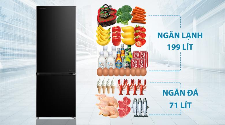 Tủ lạnh Toshiba Inverter 270 lít GR-RB350WE-PMV(30)-BS-Dung tích 270 lít, phù hợp gia đình nhỏ từ 2 - 3 người