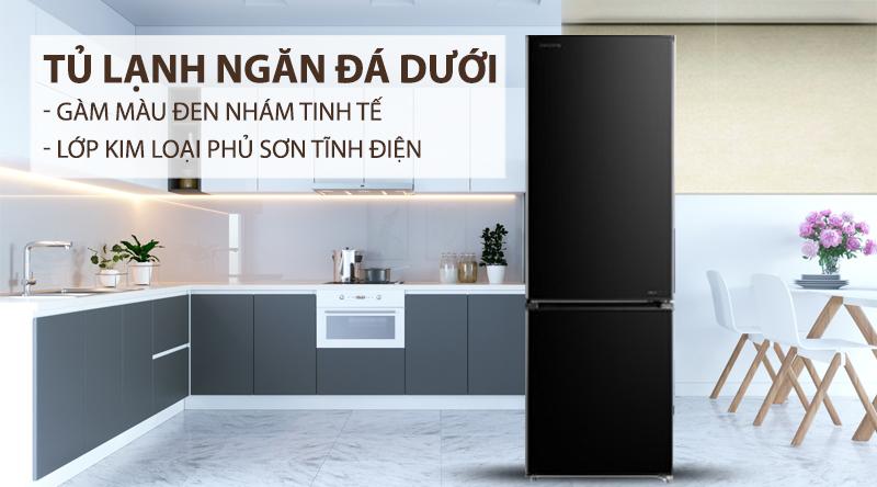 Tủ lạnh Toshiba Inverter 270 lít GR-RB350WE-PMV(30)-BS-Gam màu đen nhám tinh tế, lớp kim loại phủ sơn tĩnh điện bền bỉ