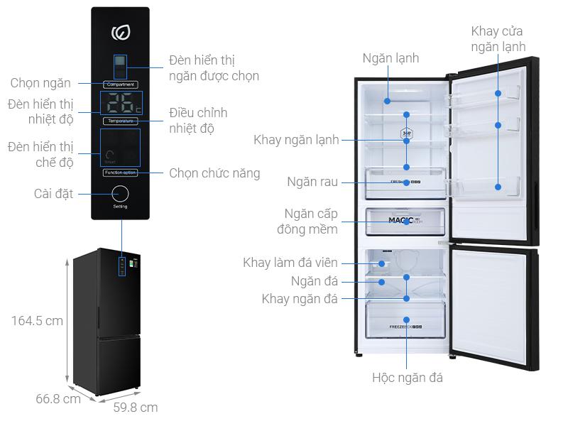 Thông số kỹ thuật Tủ lạnh Aqua Inverter 292 lít AQR-B348MA(FB)
