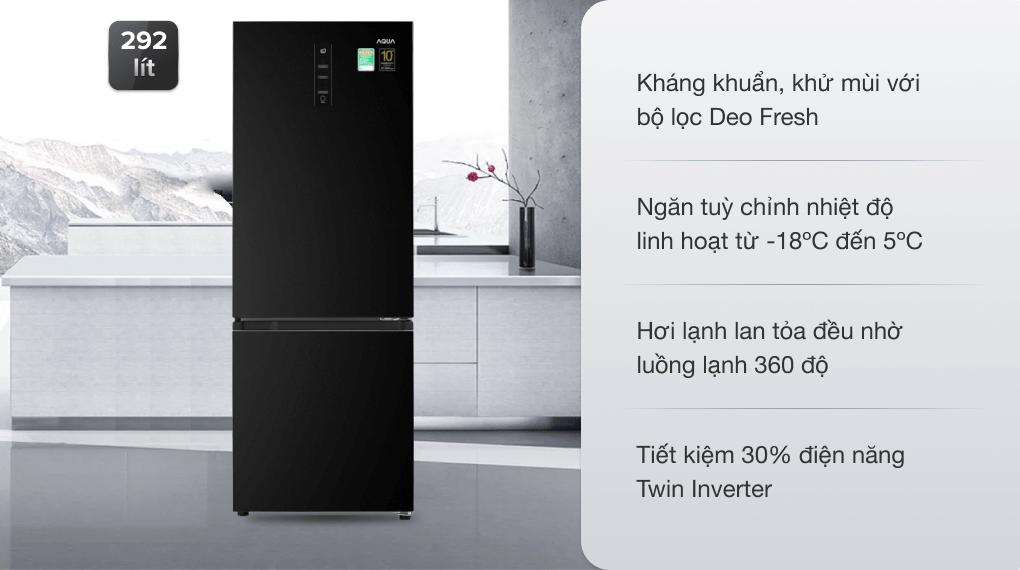 Tủ lạnh Aqua Inverter 292 lít AQR-B348MA(FB)