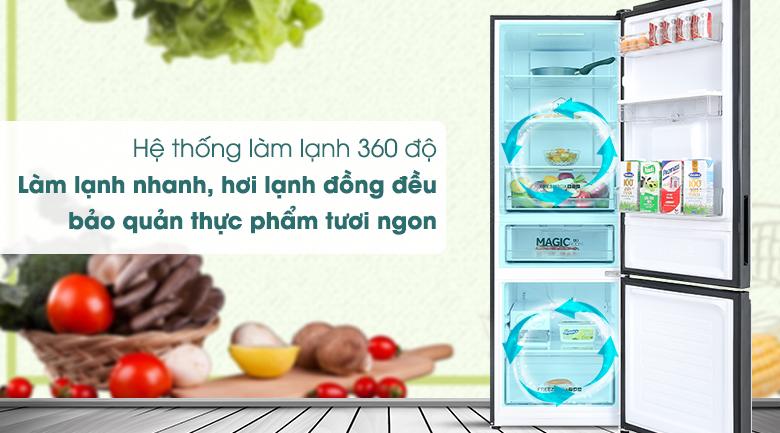 Tủ lạnh Aqua Inverter 292 lít AQR-B348MA(FB) - Làm lạnh 360 độ