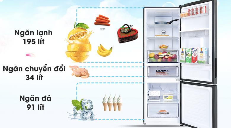 Tủ lạnh Aqua Inverter 292 lít AQR-B348MA(FB) - Dung tích