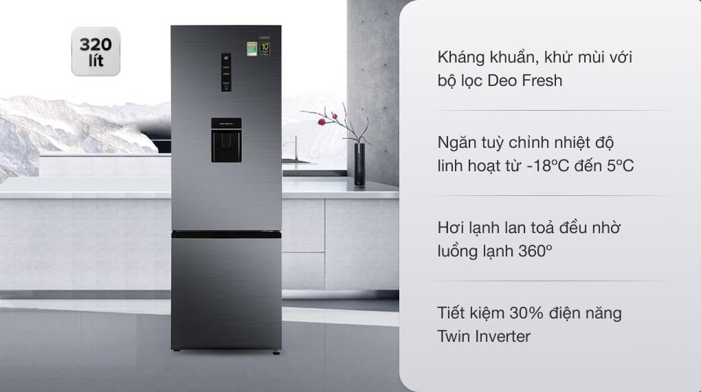 Tủ lạnh Aqua Inverter 320 lít AQR-B399MA(WHB)