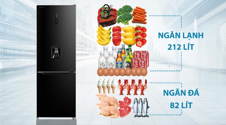 Tủ lạnh Toshiba Inverter 294 lít GR-RB385WE-PMV(30)-BS-Dung tích 294 lít, thích hợp cho gia đình khoảng 3 người