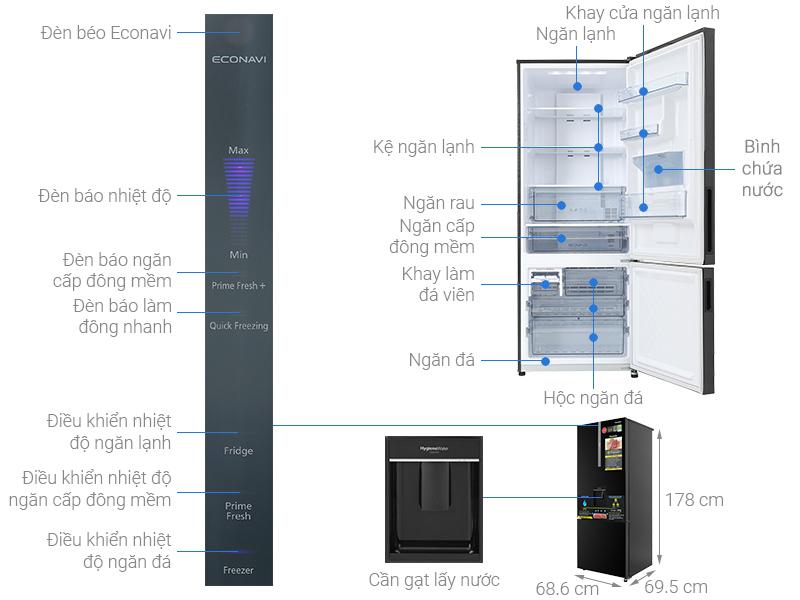 Thông số kỹ thuật Tủ lạnh Panasonic Inverter 417 lít NR-BX471GPKV
