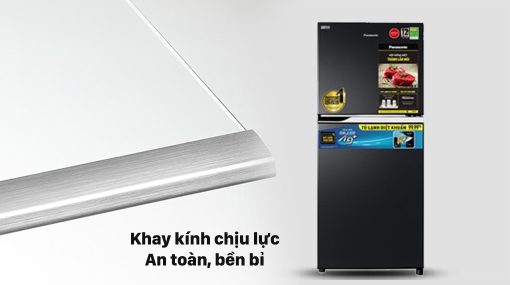 Tủ lạnh Panasonic Inverter 234 lít NR-TV261BPKV với khay kính chịu lực bền bỉ