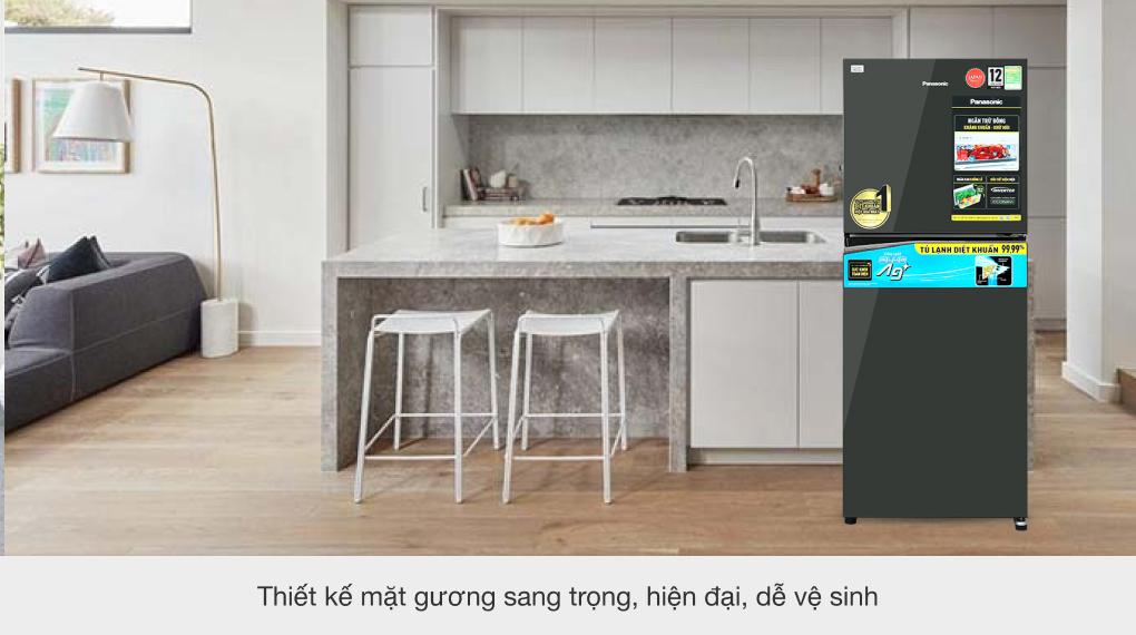 Tủ lạnh Panasonic Inverter 268 lít NR-TV301VGMV - Thiết kế mặt gương hiện đại