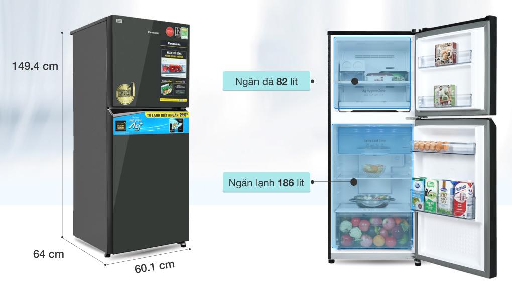 Tủ lạnh Panasonic Inverter 268 lít NR-TV301VGMV - Dung tích 268 lít