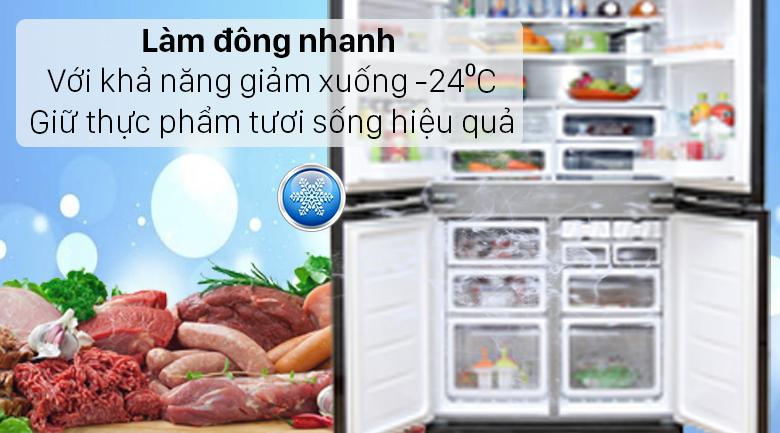 Tủ lạnh Sharp Inverter 572 lít SJ-FX640V-SL - Ngăn đông làm lạnh nhanh