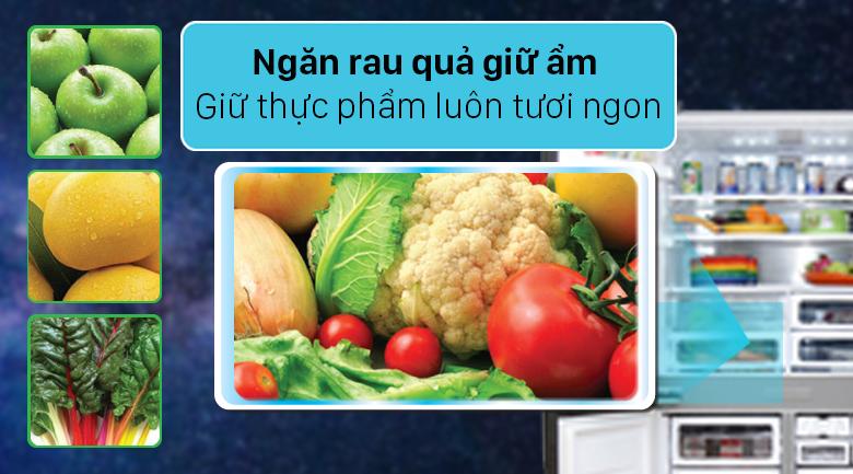 Tủ lạnh Sharp Inverter 572 lít SJ-FX640V-SL - Ngăn rau quả giữ thực phẩm tươi ngon
