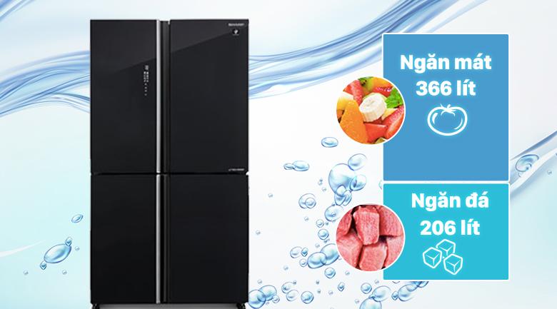 Tủ lạnh Sharp Inverter 572 lít SJ-FXP640VG-BK - Dung tích 572 lít rộng rãi