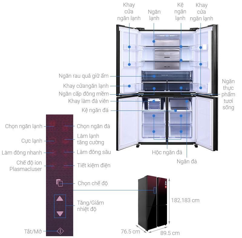 Tủ lạnh Sharp Inverter 572 lít SJ-FXP640VG-MR