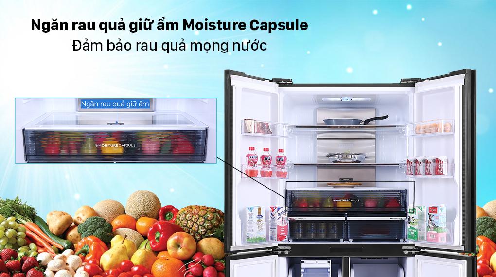 Tủ lạnh Sharp Inverter 572 lít SJ-FXP640VG-MR - Ngăn rau quả Moisture Capsule