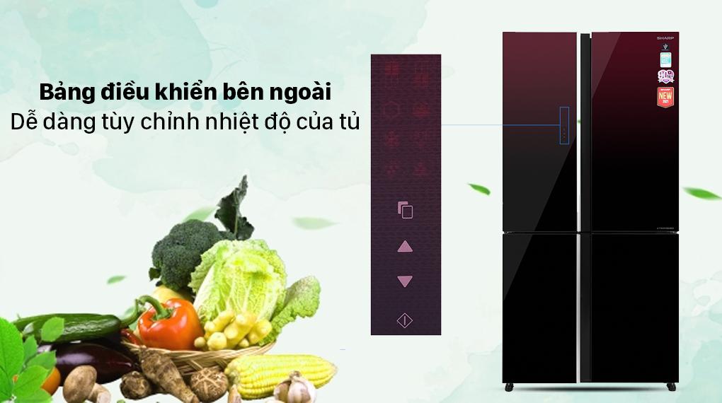 Tủ lạnh Sharp Inverter 572 lít SJ-FXP640VG-MR - Màn hình cảm ứng bên ngoài
