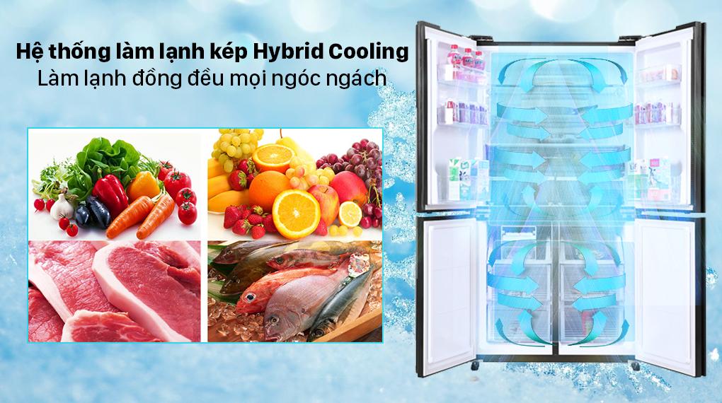 Tủ lạnh Sharp Inverter 525 lít SJ-FX600V-SL - Công nghệ làm lạnh kép Hybrid Cooling