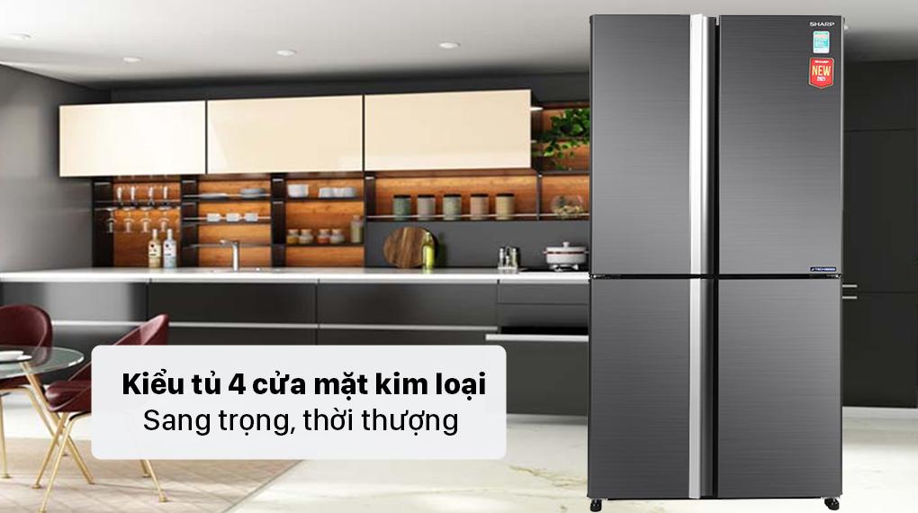 Tủ lạnh Sharp Inverter 525 lít SJ-FX600V-SL - Thiết kế 4 cửa hiện đại