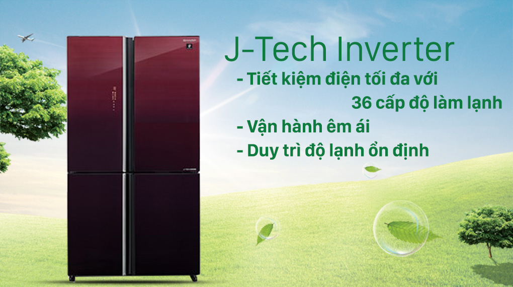 Tủ lạnh Sharp Inverter 525 lít SJ-FXP600VG-MR-Hoạt động ổn định, êm ái và tiết kiệm điện nhờ công nghệ J-Tech Inverter