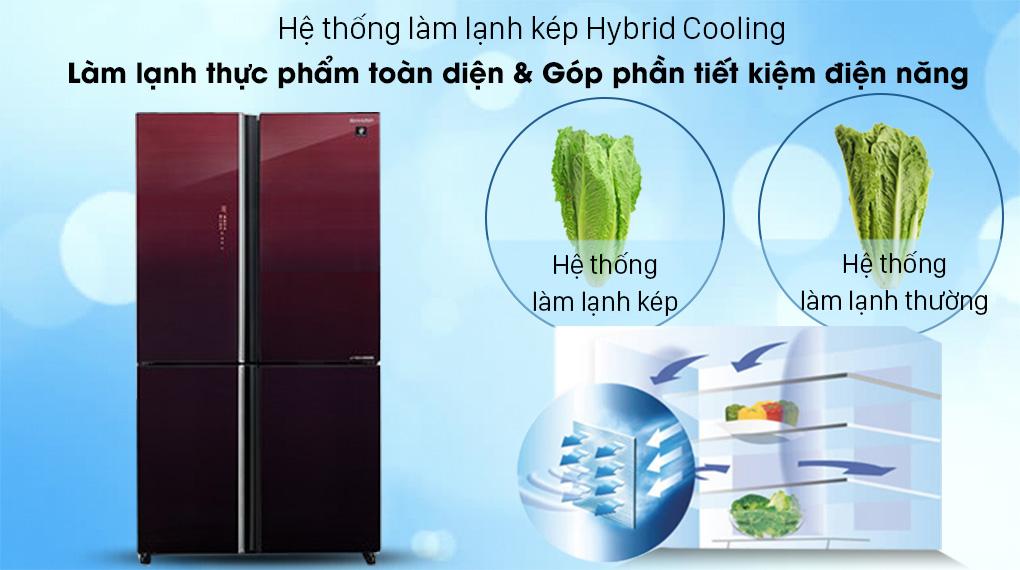 Tủ lạnh Sharp Inverter 525 lít SJ-FXP600VG-MR-Làm lạnh toàn diện thực phẩm với hệ thống Hybrid Cooling