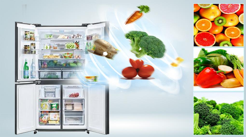 Tủ lạnh Sharp Inverter 525 lít SJ-FXP600VG-MR-Giúp rau củ tươi lâu trong ngăn trữ rau quả Moisture Capsule