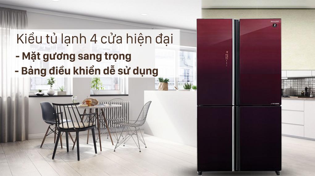 Tủ lạnh Sharp Inverter 525 lít SJ-FXP600VG-MR-Kiểu tủ hiện đại, mặt gương sang trọng với bảng điều khiển dễ sử dụng