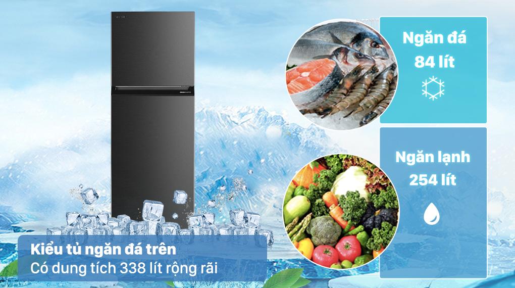 Tủ lạnh Toshiba GR-RT440WE-PMV(06)-MG có dung tích 338 lít rộng rãi