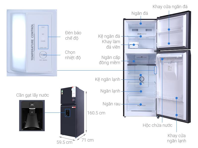 Tủ lạnh Toshiba Inverter 311 lít GR-RT395WE-PMV(06)-MG