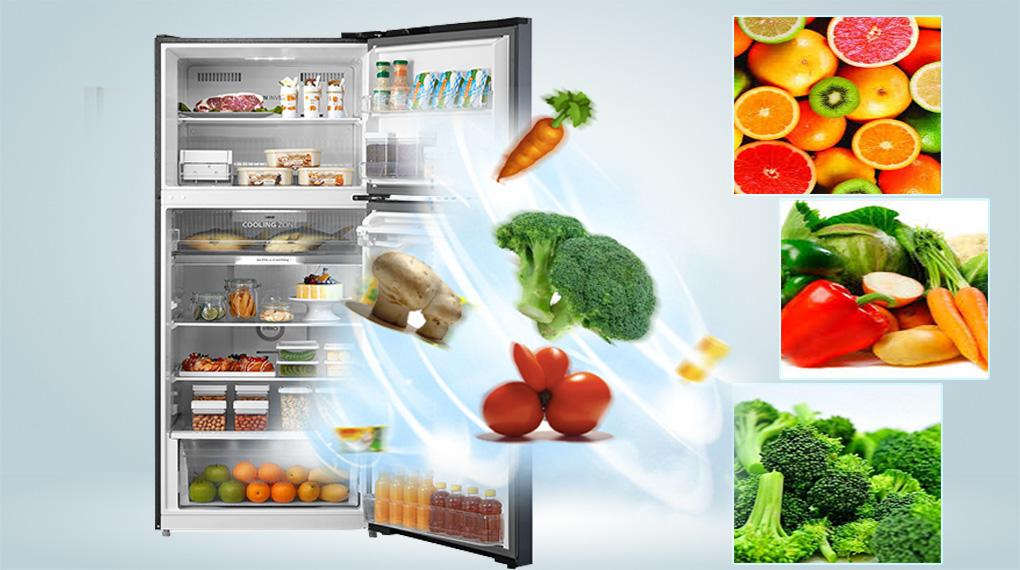 Tủ lạnh Toshiba GR-RT395WE-PMV(06)-MG-Cân bằng độ ẩm các loại rau củ quả trong ngăn Origin Fresh, kéo dài thời gian bảo quản