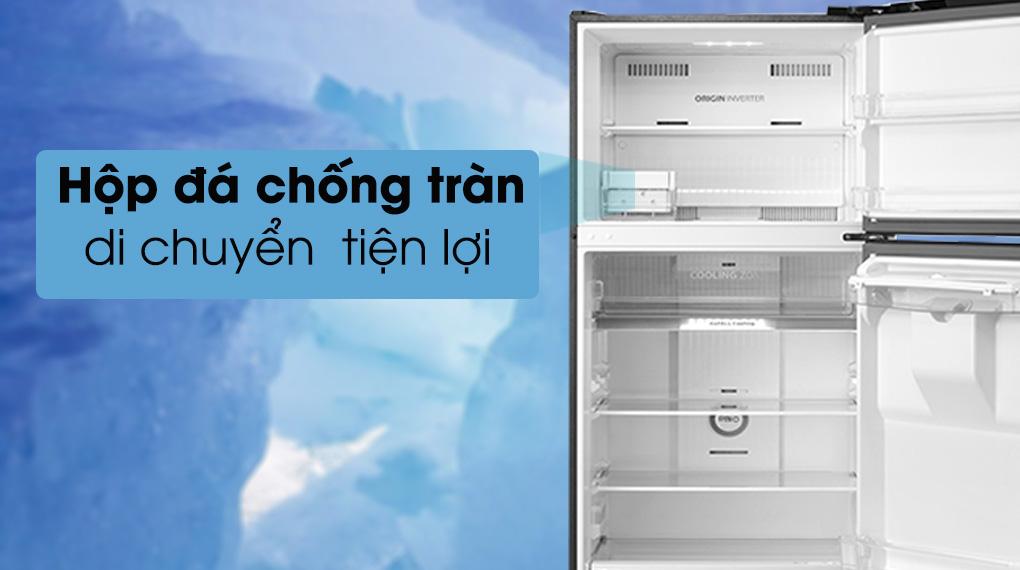 Tủ lạnh Toshiba GR-RT395WE-PMV(06)-MG-Di chuyển linh hoạt hộp đá với khả năng chống tràn thuận tiện