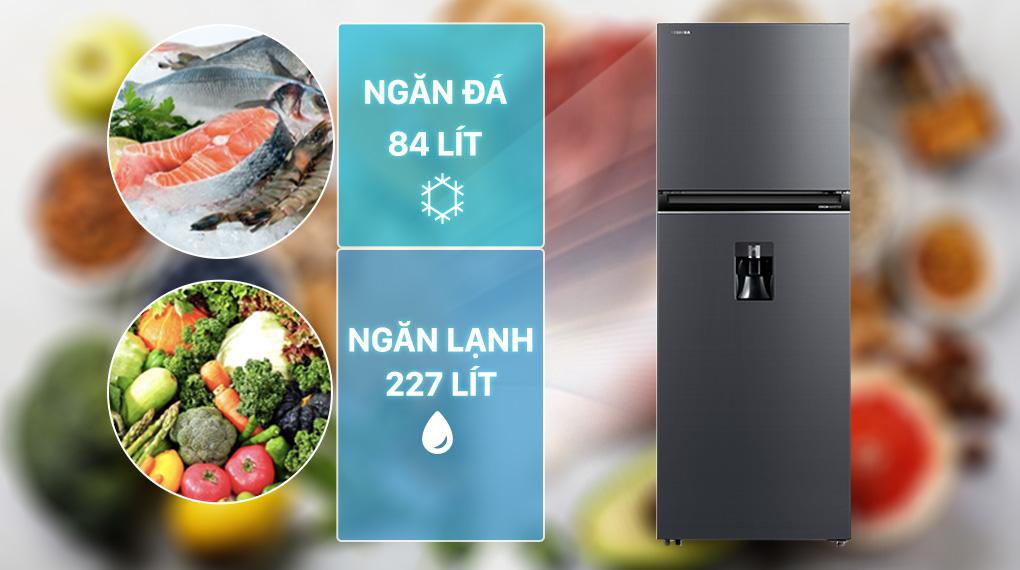 Tủ lạnh Toshiba GR-RT395WE-PMV(06)-MG-Dung tích 311 lít, phù hợp gia đình dưới 2 thành viên