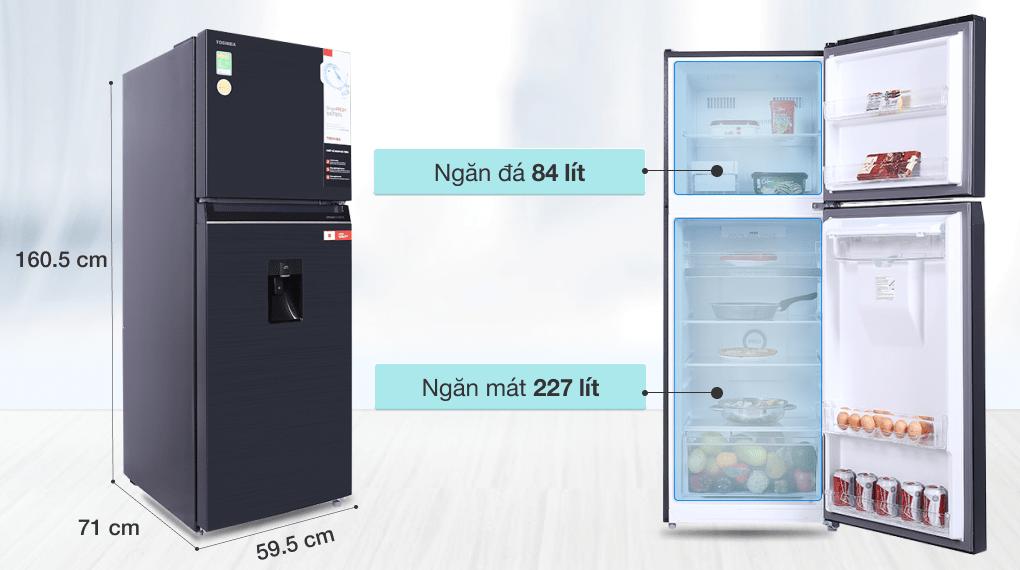 Tủ lạnh Toshiba Inverter 311 lít GR-RT395WE-PMV(06)-MG - Dung tích 311 lít