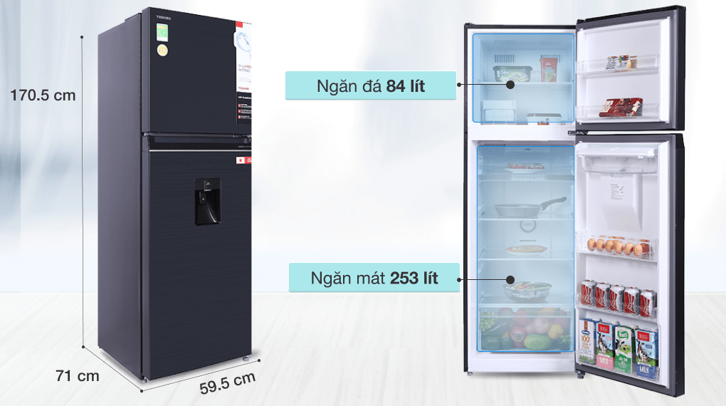 Tủ lạnh Toshiba Inverter 337 lít GR-RT435WE-PMV(06)-MG - Dung tích 337 lít