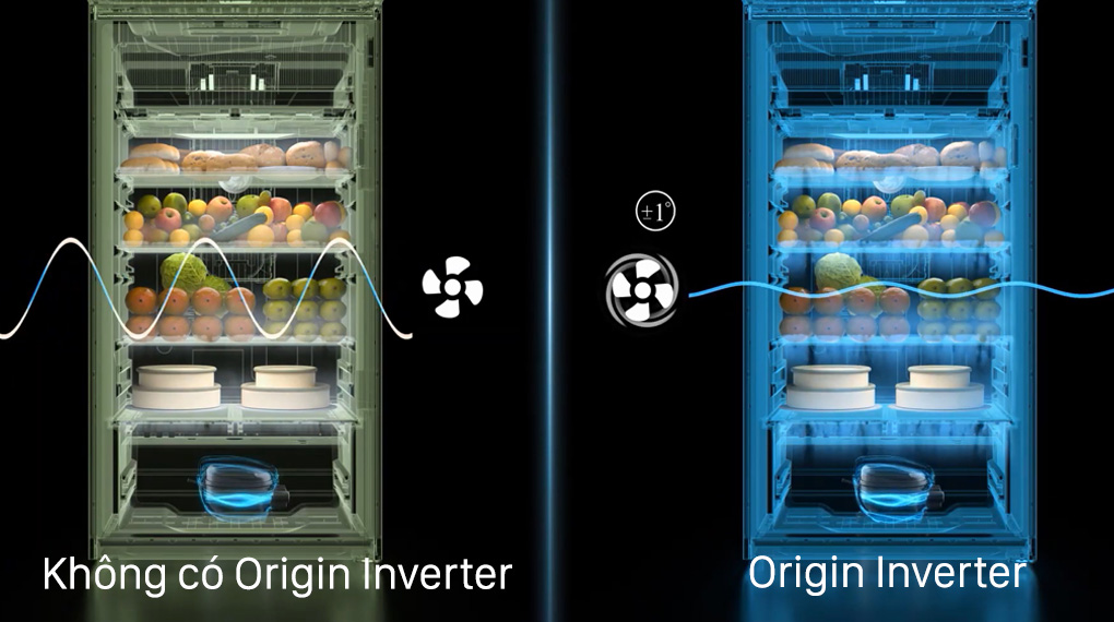 Tủ lạnh Toshiba GR-RT435WE-PMV(06)-MG-Vận hành êm ái, tiết kiệm điện hiệu quả nhờ công nghệ Origin Inverter