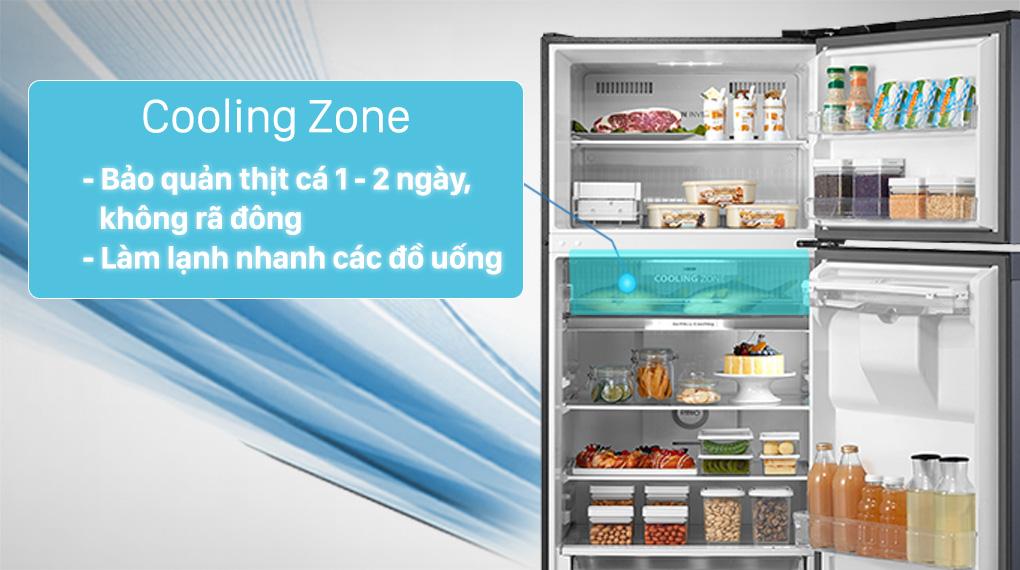 Tủ lạnh Toshiba GR-RT435WE-PMV(06)-MG-Chế biến thịt cá không cần rã đông với ngăn lạnh nhanh Cooling Zone