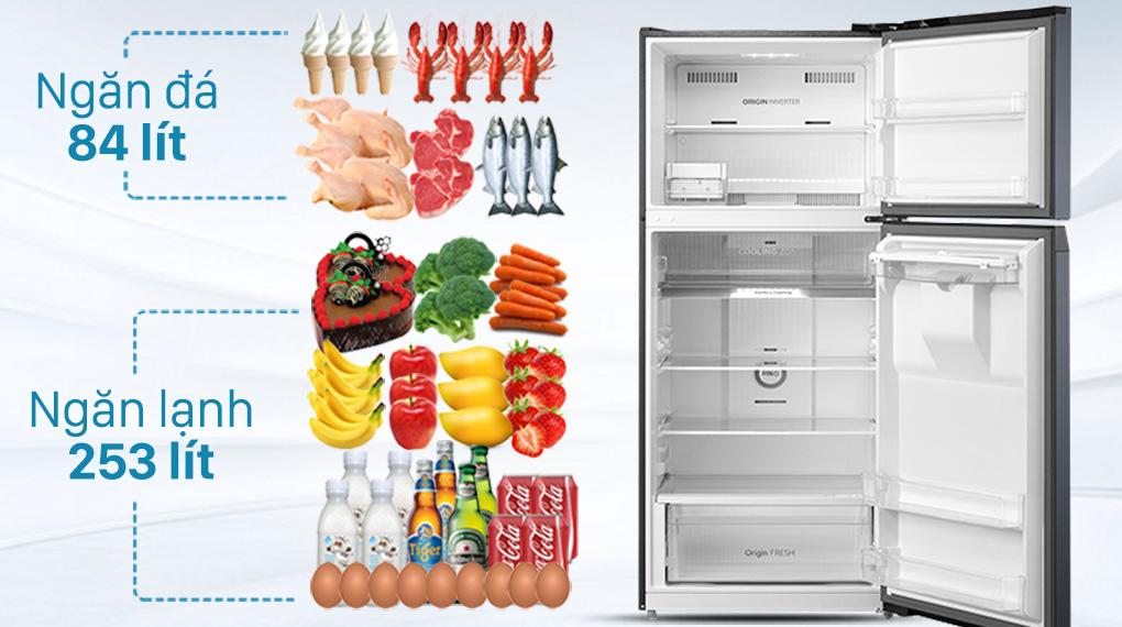 Tủ lạnh Toshiba GR-RT435WE-PMV(06)-MG-Dung tích 337 lít, thích hợp gia đình 3 - 4 người