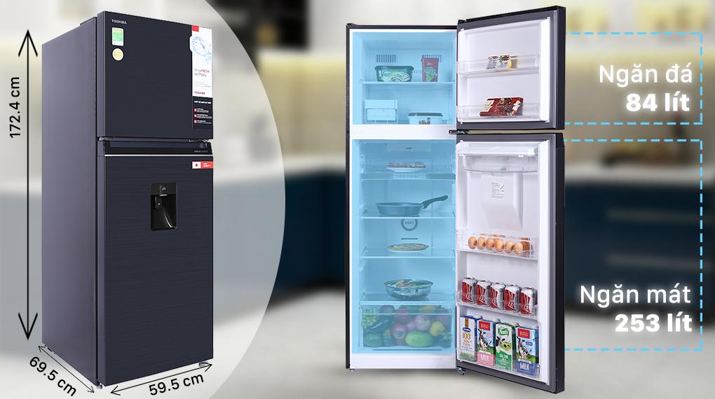 Tủ lạnh Toshiba Inverter 337 lít GR-RT435WE-PMV(06)-MG - Dung tích 377 lít