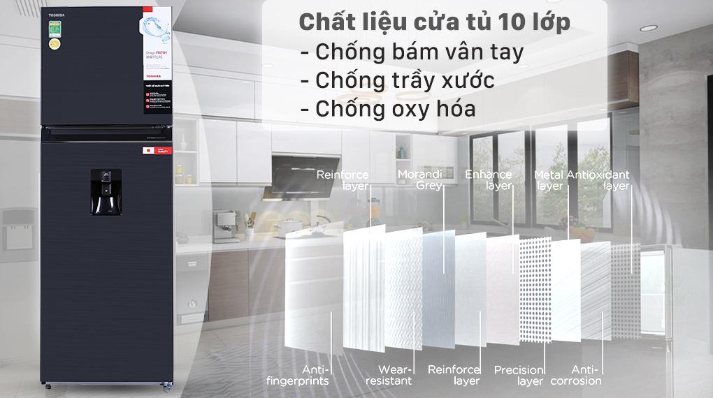 Tủ lạnh Toshiba Inverter 337 lít GR-RT435WE-PMV(06)-MG - Mặt cửa tủ chống bám vân tay