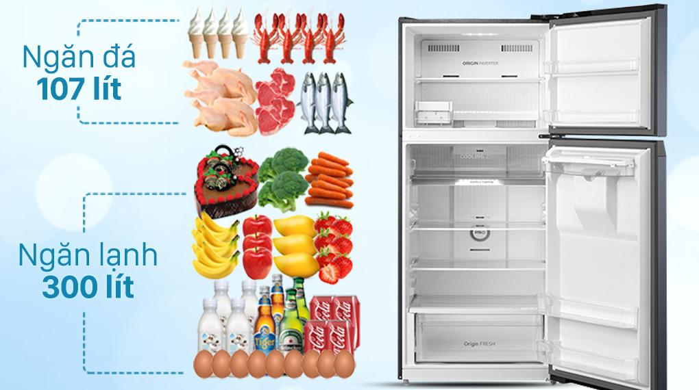 Tủ lạnh Toshiba Inverter 407 lít GR-RT535WE-PMV(06)-MG-Dung tích 407 lít, phù hợp gia đình đông người (4 - 5 thành viên)