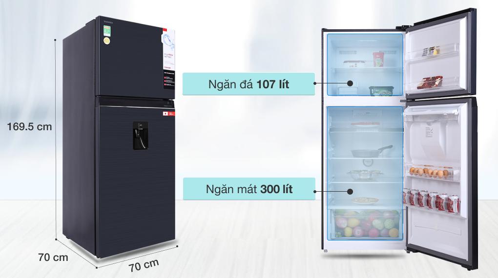 Tủ lạnh Toshiba Inverter 407 lít GR-RT535WE-PMV(06)-MG - Dung tích 407 lít
