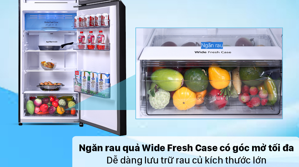 Tủ lạnh Panasonic Inverter 366 lít NR-TL381VGMV - Ngăn rau củ Wide Fresh Case