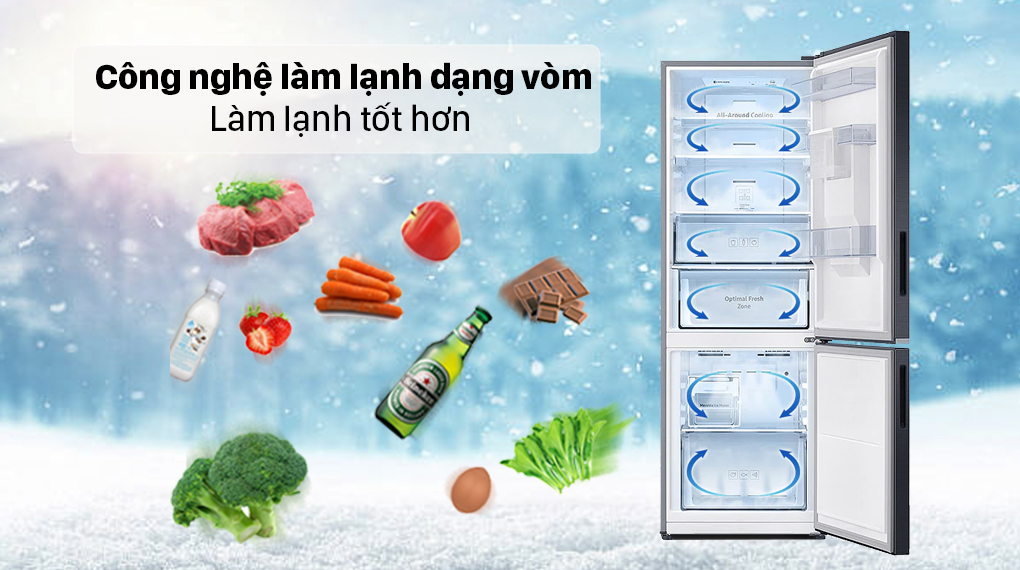 Tủ lạnh Samsung Inverter 307 lít RB30N4190BU/SV - Làm lạnh đồng đều