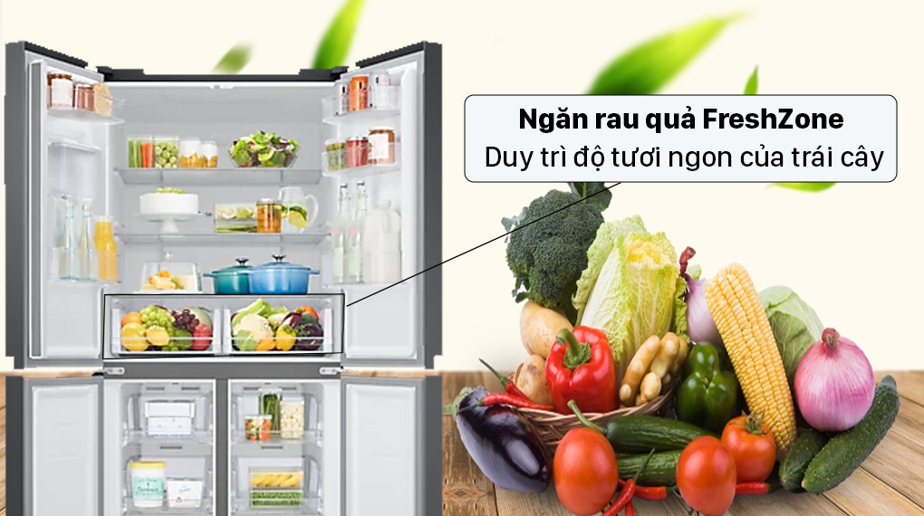Tủ lạnh Samsung Inverter 488 lít RF48A4010B4/SV - Ngăn rau củ Fresh Zone