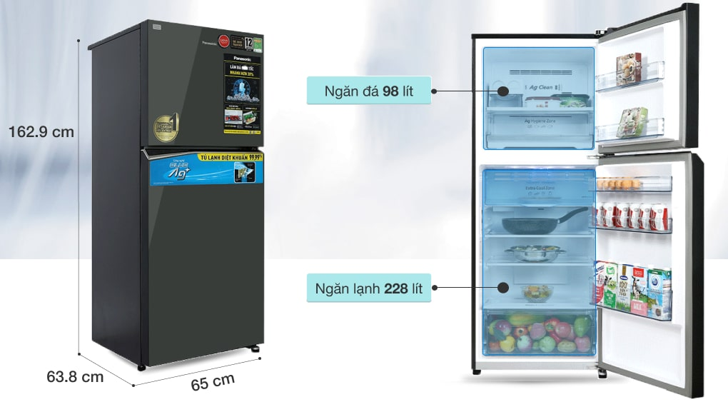 Tủ lạnh Panasonic Inverter 326 lít NR-TL351VGMV - Dung tích 326 lít