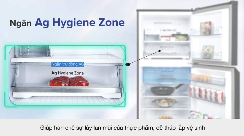 Tủ lạnh Panasonic Inverter 326 lít NR-TL351VGMV -  Ngăn trữ đông tinh thể bạc Ag Hygiene Zone
