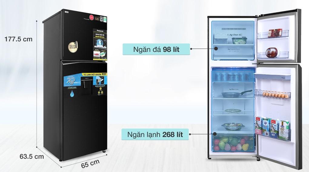 Tủ lạnh Panasonic Inverter 366 lít NR-TL381GPKV - Dung tích