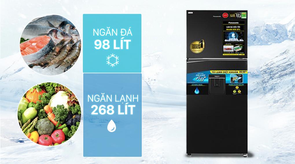 Tủ lạnh Panasonic Inverter 366 lít NR-TL381GPKV - Dung tích 366 lít phù hợp với gia đình từ 3 - 4 người