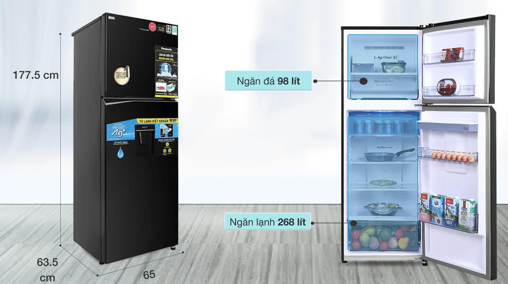 Tủ lạnh Panasonic Inverter 366 lít NR-TL381GPKV - Dung tích 366 lít